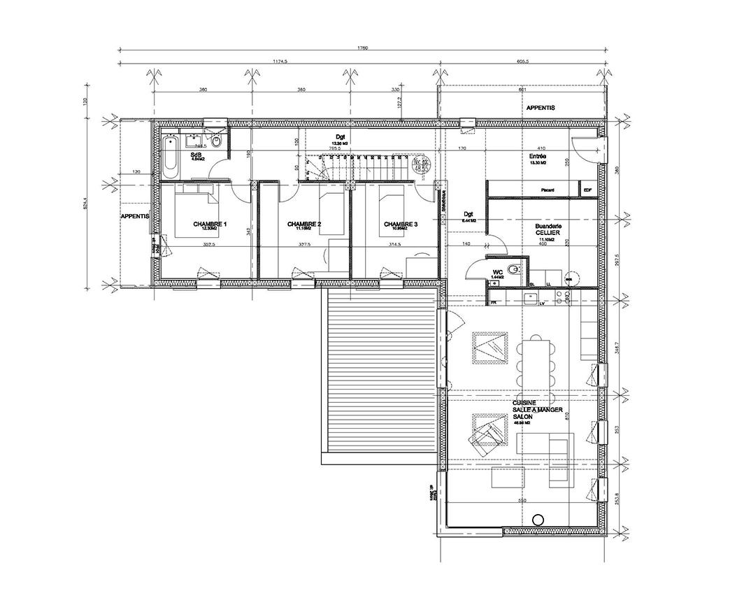 Maison individuelle sur plan for Plan maison individuelle